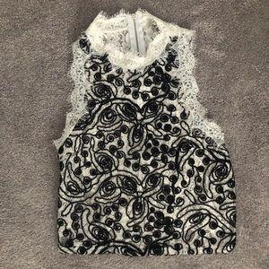 Black & White Textured Crop Top by Zara